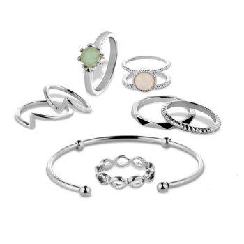 Faux Gem Circle Bracelet and Rings