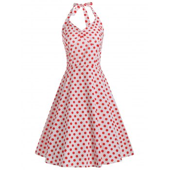 Lace Up Halter Polka Dot 50s Dress