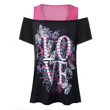 Plus Size Love Cold Shoulder T-Shirt