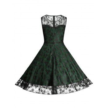 Floral Vinatge Lace Plus Size Dress - GREEN GREEN