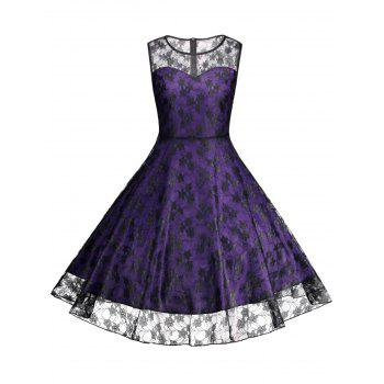 Floral Vinatge Lace Plus Size Dress - PURPLE 4XL