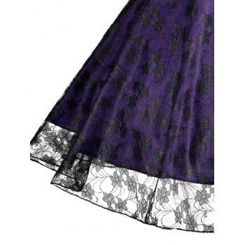 Floral Vinatge Lace Plus Size Dress - PURPLE XL
