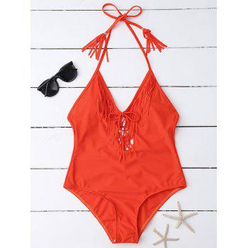 Halter Fringe One Piece Swimsuit