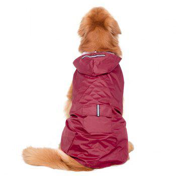 Hooded Raincoat Waterproof Large Dog Clothes - WINE RED 3XL