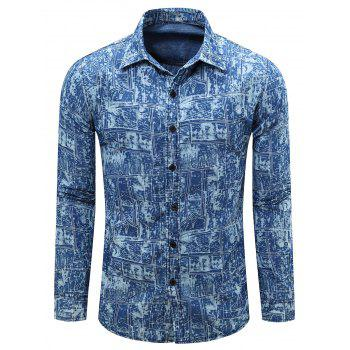 Pockets Print Bleach Wash Long Sleeve Shirt