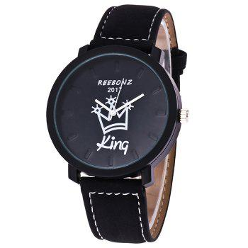 Queen King Faux Leather Strap Watch