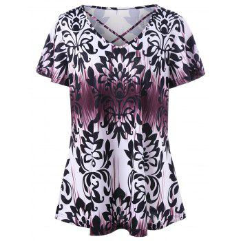 Plus Size Graphic Criss Cross T-Shirt