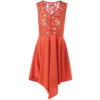 Lace Trim Cutwork Asymmetric Sleeveless Dress