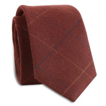 Wrinkle Resistant Large Plaid Neck Tie - WINE RED WINE RED