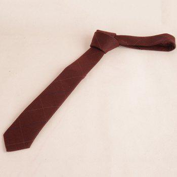Wrinkle Resistant Large Plaid Neck Tie -  WINE RED