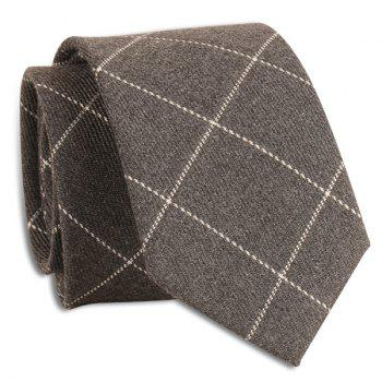 Wrinkle Resistant Large Plaid Neck Tie - GRAY GRAY