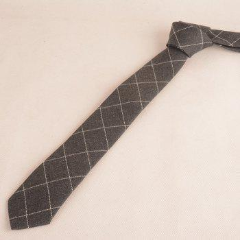 Wrinkle Resistant Large Plaid Neck Tie -  GRAY