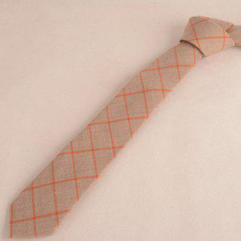 Wrinkle Resistant Large Plaid Neck Tie -  LIGHT COFFEE
