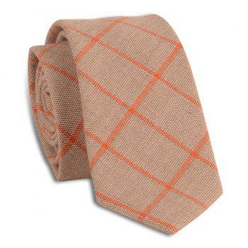Wrinkle Resistant Large Plaid Neck Tie - LIGHT COFFEE LIGHT COFFEE
