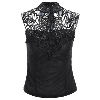 Backless Lace Insert High Neck Sleeveless Top