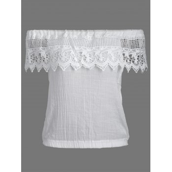 Off Shoulder See Thru Lace Flounce Blouse