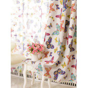 Window Screens Butterfly Print Blackout Curtain(Without Tulle) - COLORMIX W54INCH*L84INCH