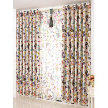 Window Screens Butterfly Print Blackout Curtain(Without Tulle)