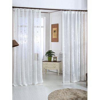 Floral Embroidery Sheer Tulle Curtain Window Screen