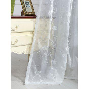 Floral Embroidery Sheer Tulle Curtain Window Screen - WHITE W54INCH*L108INCH