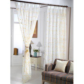 Babysbreath Flower Sheer Tulle Curtain - WHITE W42INCH*L84INCH