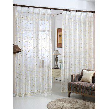 Babysbreath Flower Sheer Tulle Curtain - WHITE W54INCH*L108INCH