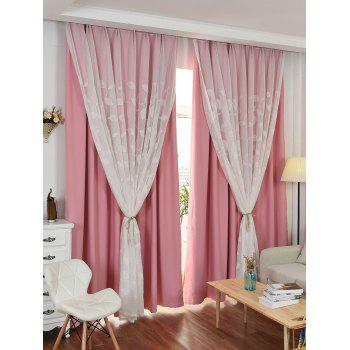 Princess Double Layers Shading Window Curtain - PINK PINK