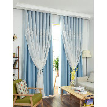 Princess Style 1Pcs 2 Layers Window Curtain - ICE BLUE ICE BLUE