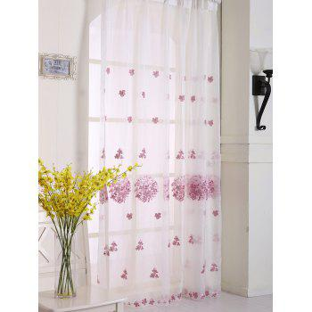 Hydrangea Print Sheer Voile Curtain Window Decor - PINK W54INCH*L84INCH