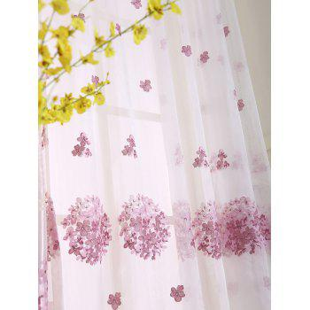 Hydrangea Print Sheer Voile Curtain Window Decor - W54INCH*L84INCH W54INCH*L84INCH