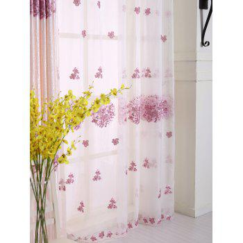 Hydrangea Print Sheer Voile Curtain Window Decor - PINK W54INCH*L95INCH