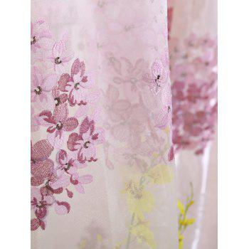 Hydrangea Print Sheer Voile Curtain Window Decor - ROSE PÂLE W54INCH*L95INCH