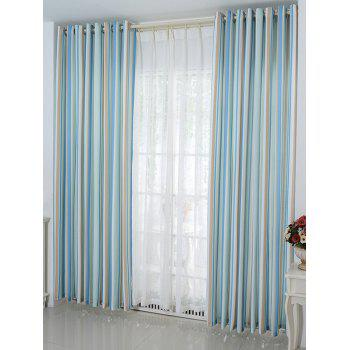 Window Decor Stripe Blackout Curtain(Without Tulle) - ICE BLUE ICE BLUE