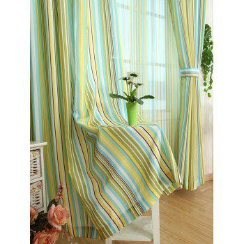 Window Decor Stripe Blackout Curtain(Without Tulle) - YELLOW YELLOW