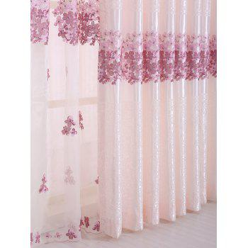 1PCS Hydrangea Print Blackout Curtain Window Screen(Without Tulle) - PINK PINK
