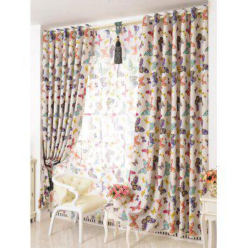 Butterfly Sheer Tulle Curtain Door Window Screen - COLORMIX W42INCH*L63INCH