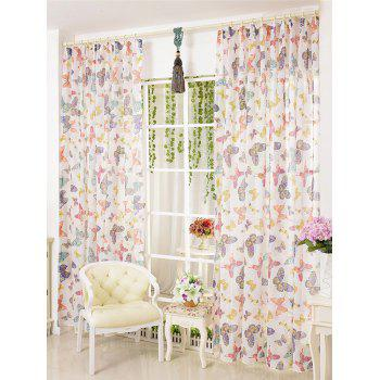 Butterfly Sheer Tulle Curtain Door Window Screen - COLORMIX W54INCH*L95INCH