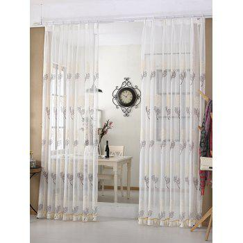 Hydrangea Embroidery Sheer Window Tulle Curtain
