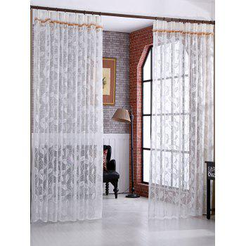 Leaf Rattan Sheer Voile Drape Tulle Curtain