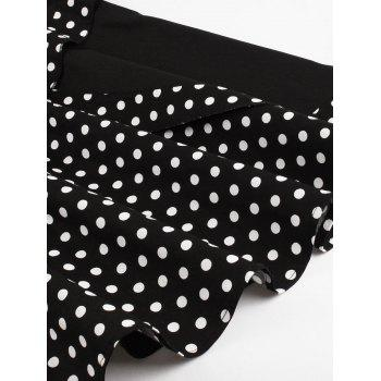 Buttoned Polka Dot Vintage Corset Dress - BLACK M