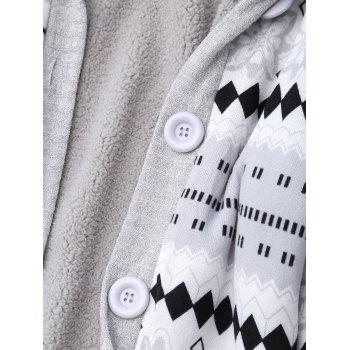 Geometric Button Up Hooded Cardigan - GRAY M
