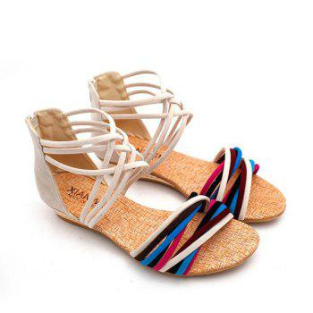 Color Block Cross Straps Sandals