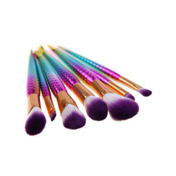 7 Pcs Iridescence Mermaid Multifunction Makeup Brush Set - multicolor COLOR