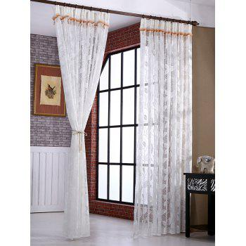 Leaf Rattan Sheer Voile Drape Tulle Curtain - WHITE W54INCH*L84INCH