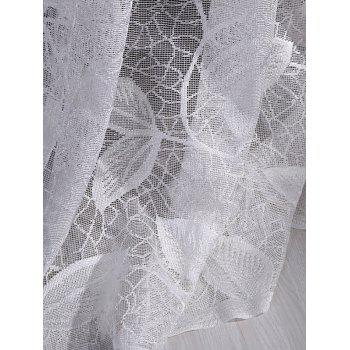 Leaf Rattan Sheer Voile Drape Tulle Curtain - WHITE W42INCH*L84INCH