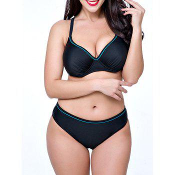 Push Up Plus Size Bikini Set - BLACK 3XL