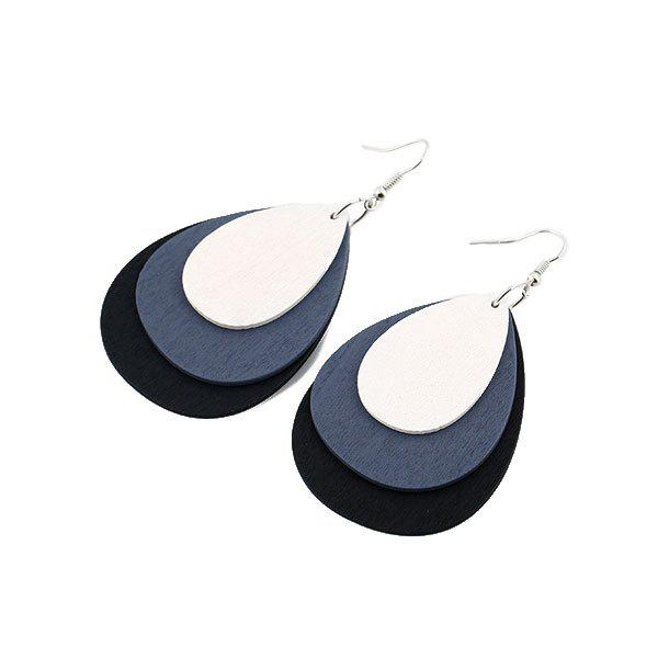 Layered Wooden Teardrop Earrings - GRAY