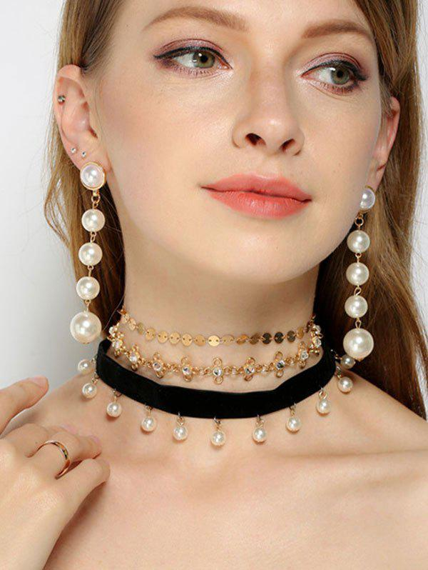 Faux Pearl Rhinestone Sequins Jewelry Set faux pearl rhinestone trumpet jewelry set