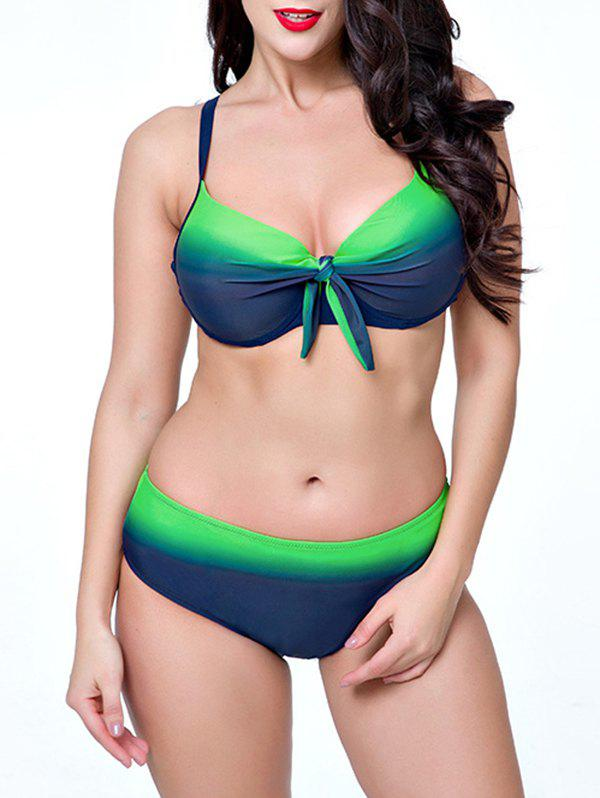Plus Size Ombre Push Up Bikini - GREEN 3XL