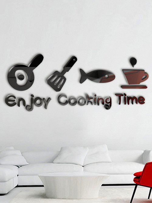 Enjoy Cooking Time Metope Adornment Kitchen Mirror Logo Wall Sticker - BLACK